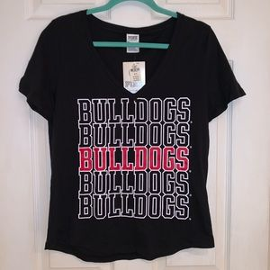PINK Georgia Bulldogs V-neck T-shirt - NWT